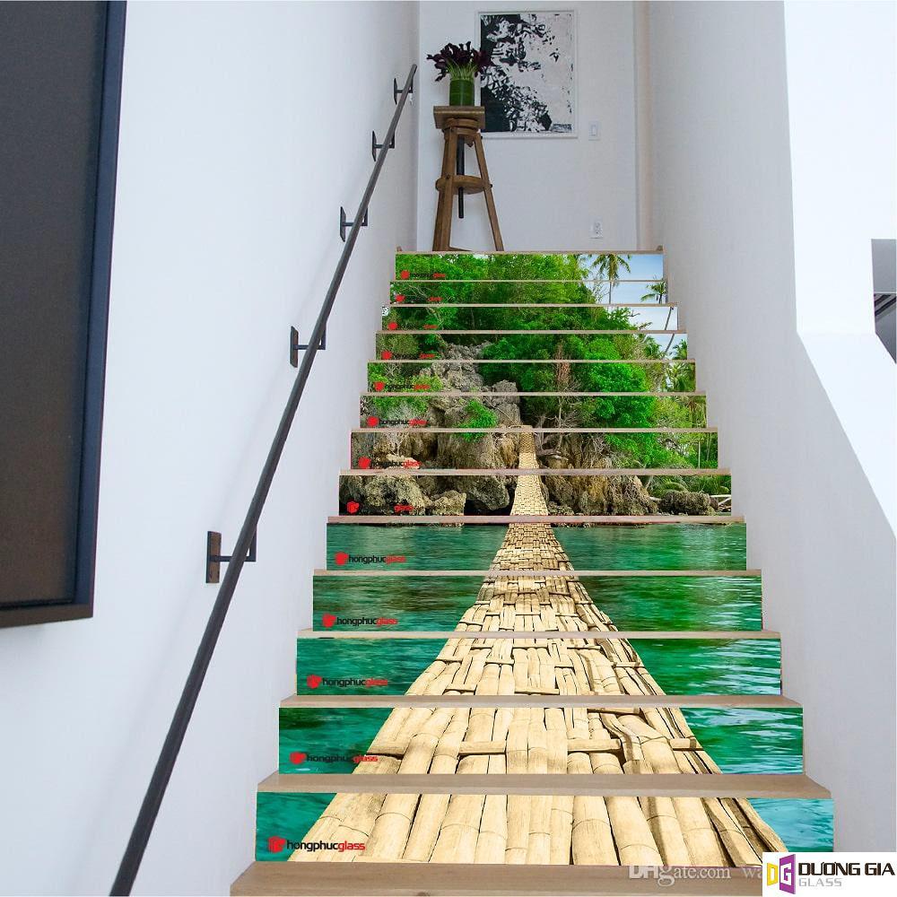 Tranh kính 3D cầu thang mẫu 1