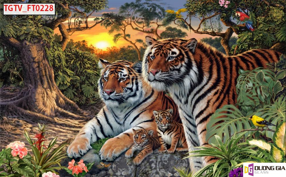 Tranh kính 3D hình con hổ