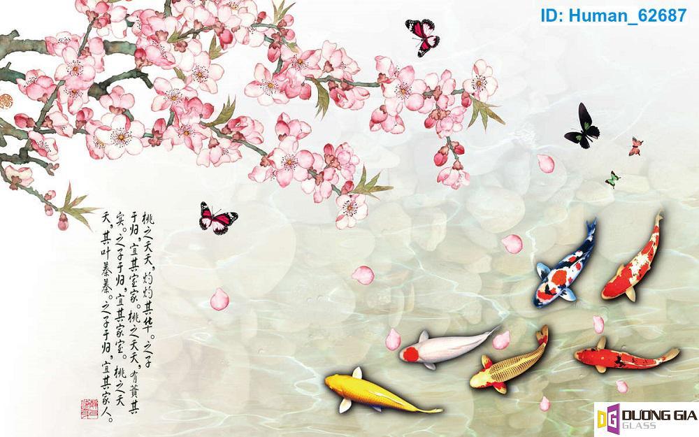 Tranh kính cửu ngư quần hội mẫu 7