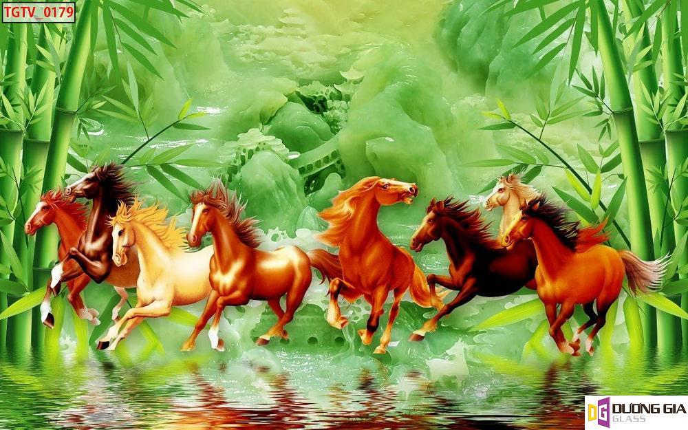 Tranh kính ngựa phong thủy mẫu 11
