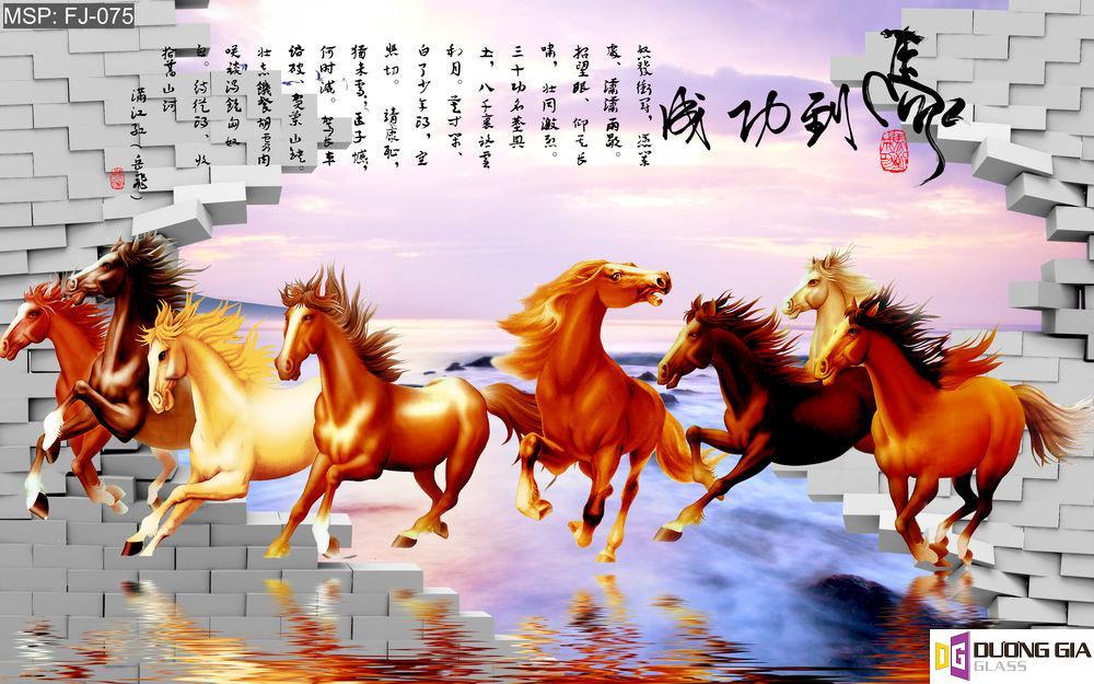 Tranh kính ngựa phong thủy mẫu 3