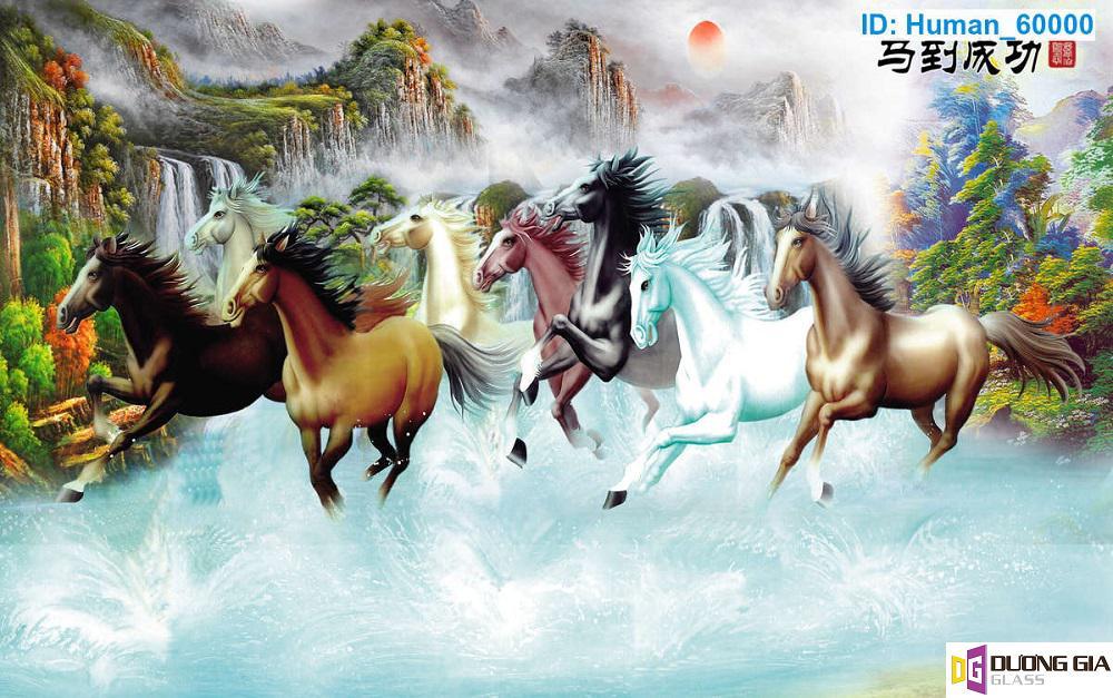 Tranh kính ngựa phong thủy mẫu 5