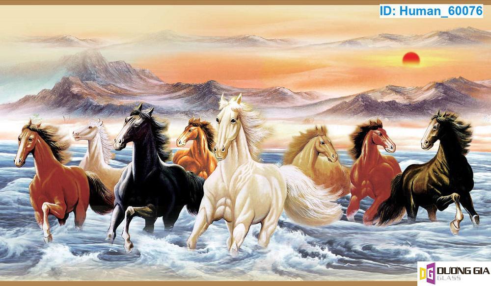 Tranh kính ngựa phong thủy mẫu 6