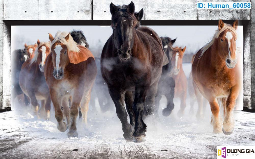 Tranh kính ngựa mã đáo thành công mẫu 1