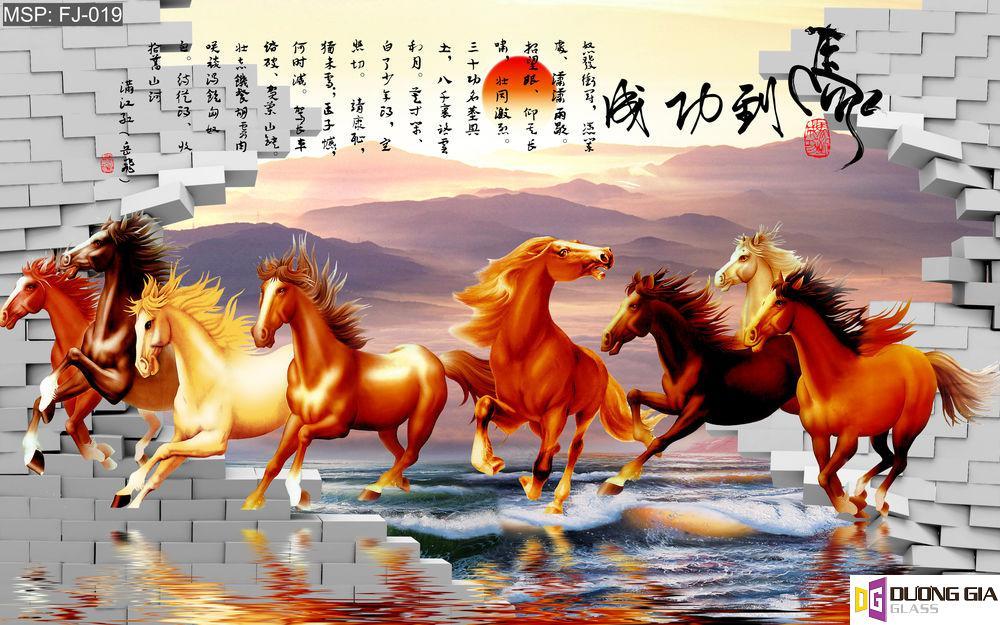 Tranh kính ngựa mã đáo thành công mẫu 2