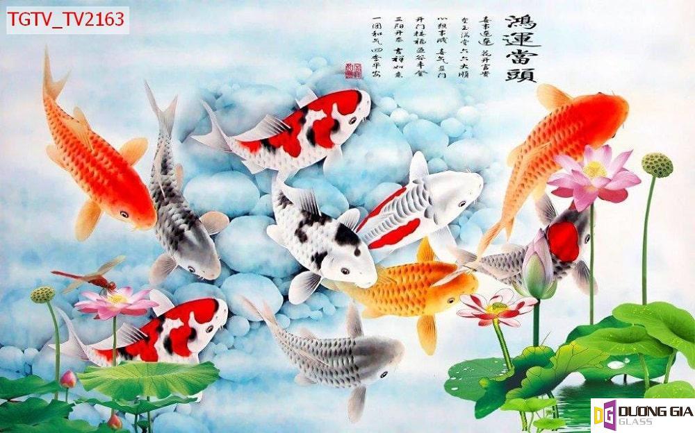 Tranh cá chép cửu ngư quần hội mẫu 5