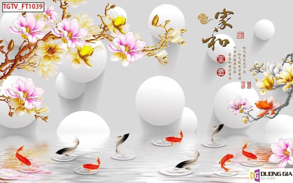 Tranh cá chép cửu ngư quần hội mẫu 6