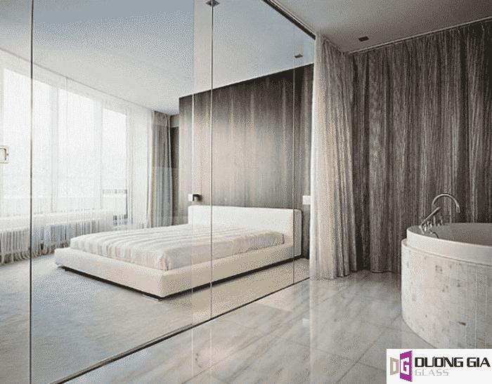 Vách ngăn kính phòng ngủ mẫu 1